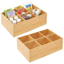 mDesign Bamboo Kitchen Cabinet Pantry Organizer Bin - 6 Divided Sections - Eco-Friendly, Multipurpose - Use in Drawers, on Countertops, Shelves or in Pantry, 2 Pack - Natural Wood Finish