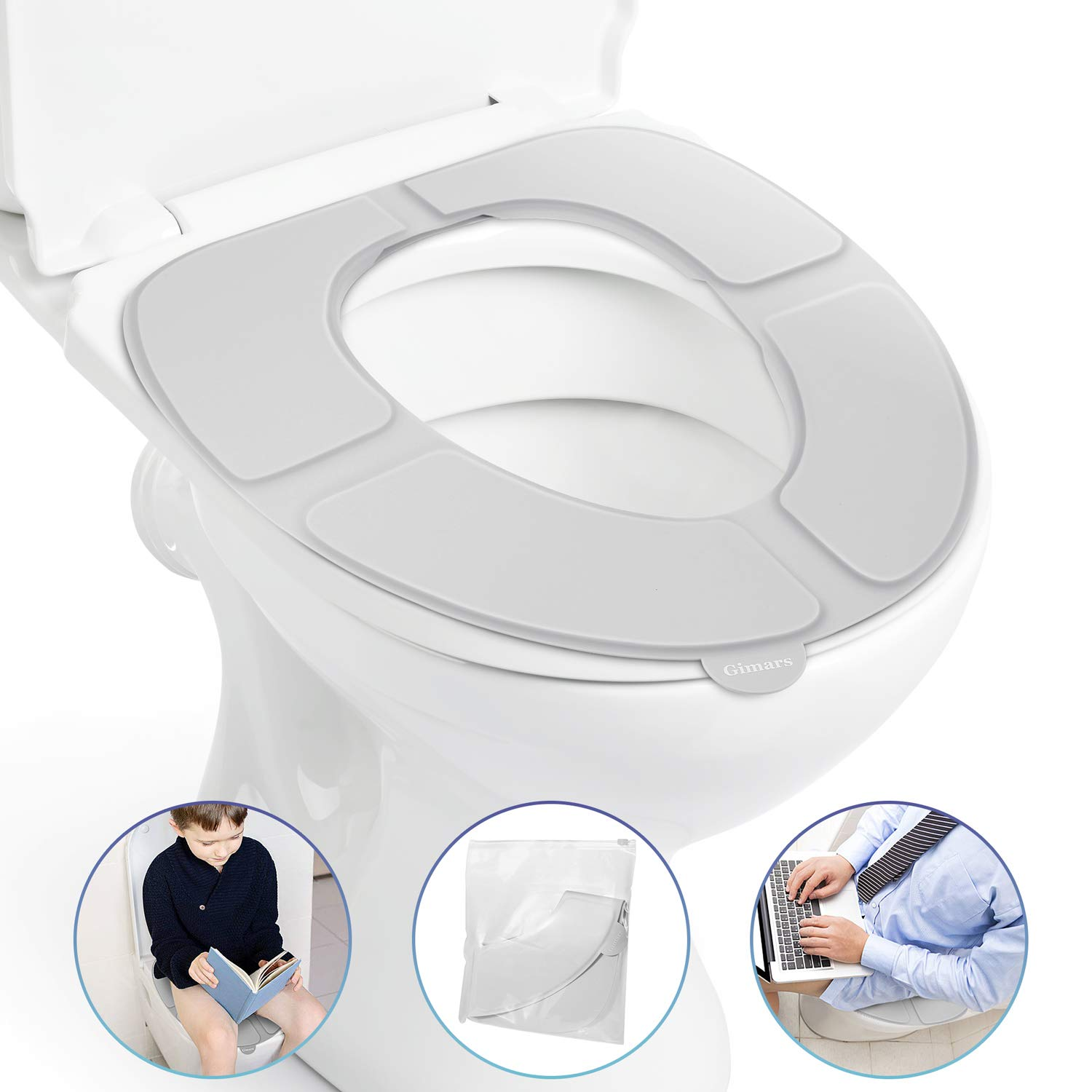 Gimars Newest Reusable Silicon Folding Public Adults Teens Travel Toilet Potty Seat Covers Protectors,Gray