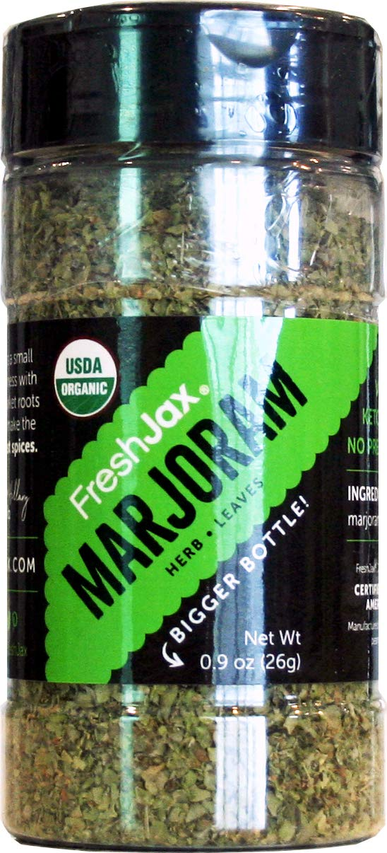 FreshJax Premium Organic Spices, Herbs, Seasonings, and Salts (Certified Organic Marjoram - Large Bottle)