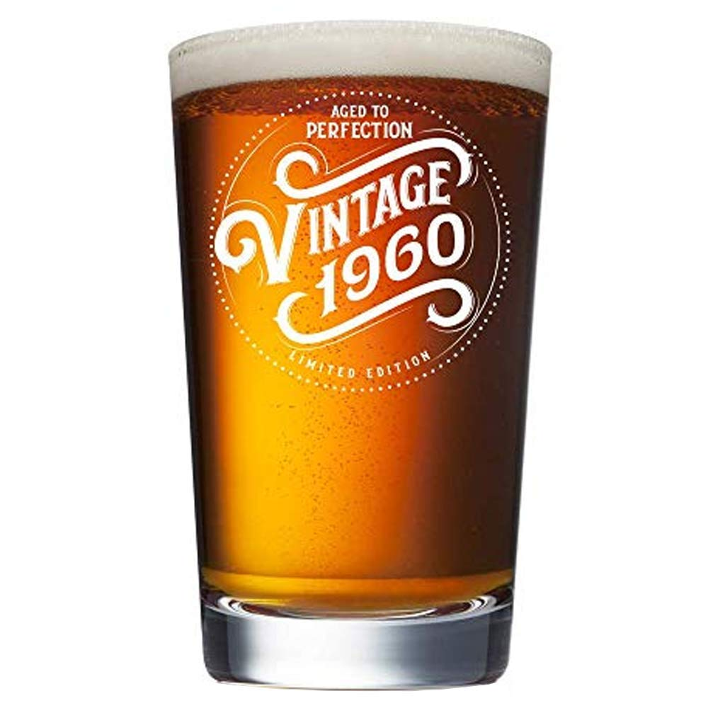 1960 60th Birthday Gifts for Men and Women Beer Glass - 16 oz Funny Vintage 60 Year Old Pint Glasses for Party Decorations - Anniversary Ideas for Dad, Mom, Husband, Wife - Best Craft Beers Mug