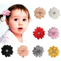 "Baby Girl Hair Clips AOKE 8 PCS 3.2"" Multi-colored Handmade Chiffon Flower Hair Clips for Baby Girls Toddlers Kids"