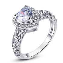 Narica Womens Brilliant 6mmx6mm Heart Shaped White Topaz Cubic Zirconia Engagement Ring