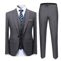 Cloudstyle Mens Suit Solid Color Formal Business One Button 3-Piece Suit Wedding Slim Fit