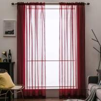 MIULEE Red Linen Textured Sheer Curtain for Bedroom Kitchen Short Semi Transparent Farmhouse Window Voile Panels with Rod Pocke for Living Room 2 Pieces W 54 x L 45 inches Length