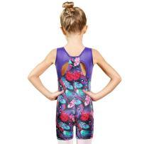 Girls Leotards for Gymnastics with Shorts Tank Biketards Sparkle Athletic Clothes