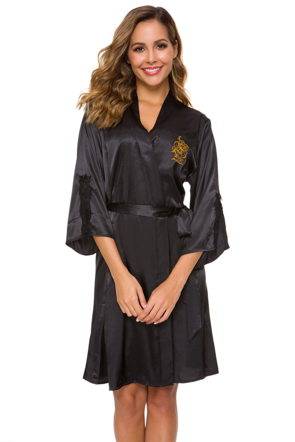 Alcea Rosea Women's Lace Trim Kimono Short Satin Robe Bridesmaids Sleepwear 3/4 Sleeve V-Neck Silky Party Bathrobe Plus Size