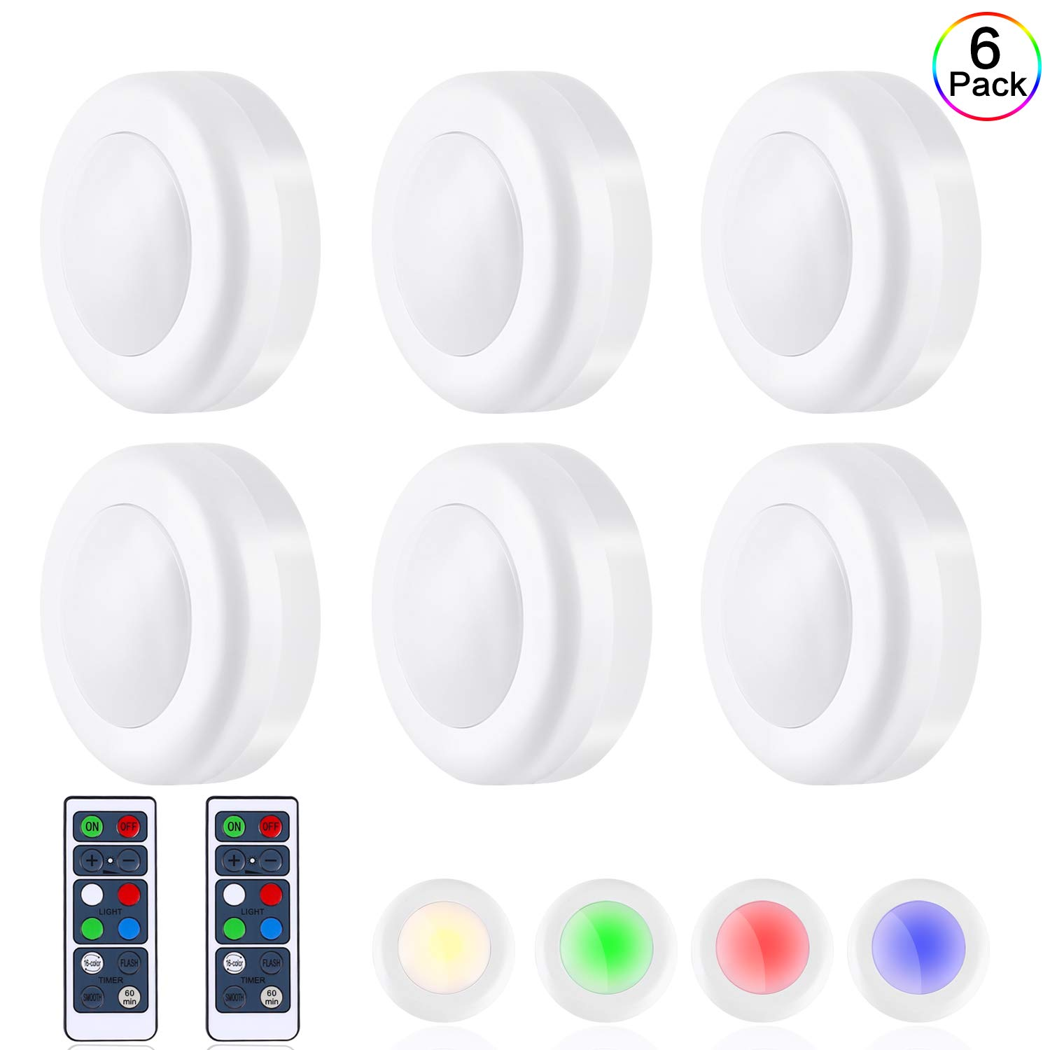 TaoHorse Wireless LED Puck Lights 6 Pack with Remote, 16 Colors 3 Modes Battery Operated Dimmable Closet Lights with 2 Remote Control Switch Dimmer, Wireless Under Cabinet Lighting with 60 mins Timer