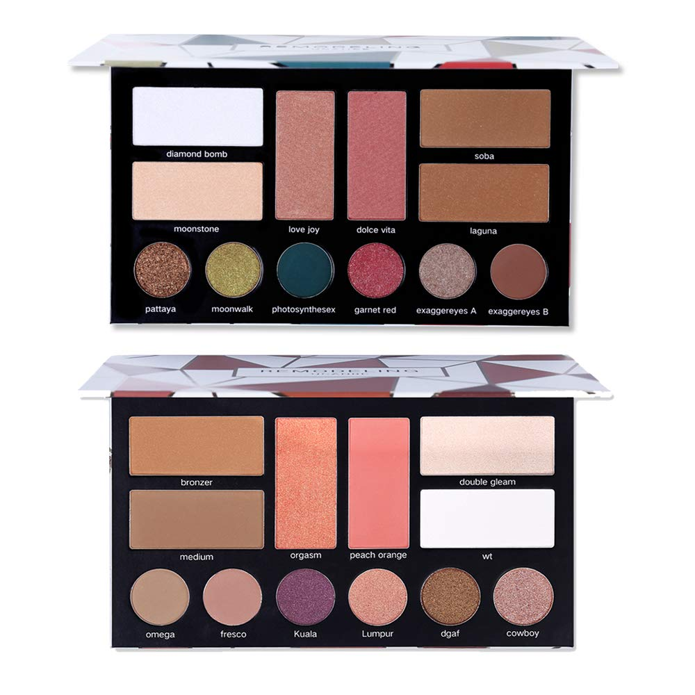 Ucanbe Remodeling Eyeshadow Bronzer Blush Highlighter Makeup Palette Kit -12 Eyeshadows,4 Blushes,4 Contours, 4 Shiny Highlighter Powdery Comestic Collection(Set #A#C)