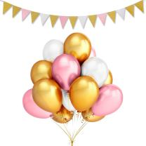 LeeSky 100Pcs 12inch Thicken Round Pearlescent Latex Balloons- Gold & Pink & White Latex Balloons and Vintage Style Pennant Banner for Bachelorette Wedding Party Decoration Supplies