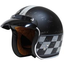 TORC Unisex-Adult Open-Face-Helmet-Style T50 Route 66 3/4 Motorcycle Helmet with 'Champ' Graphic (Flat Black, Large), 1 Pack
