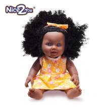 Nice2you Black Baby Doll African Girl Doll for Kids Girl Age 3 4 5 6 7 Years Fashion Play Doll 12inch Perfect for Birthday Gift, Christmas Day (Orange)
