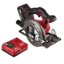 SKIL PWRCore 20 Brushless 20V 6-1/2 Inch Circular Saw, Includes 4.0Ah Lithium Battery and PWRJump Charger - CR541302