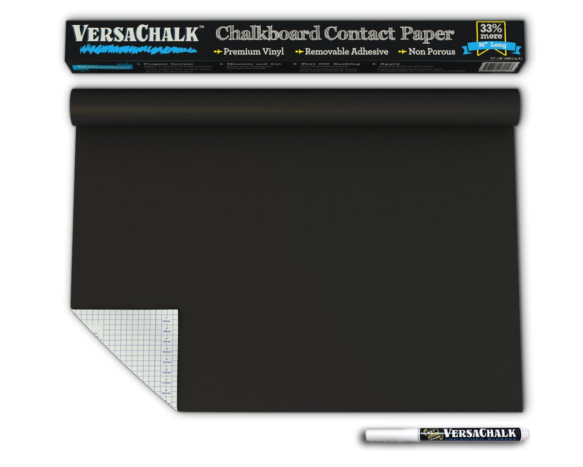 """Large Chalk Board Sticker for Wall 8 Feet by VersaChalk (18 x 96"""" with Chalk Pen) Self Adhesive Removable Contact Paper Roll for Kids, Home, and Office"""