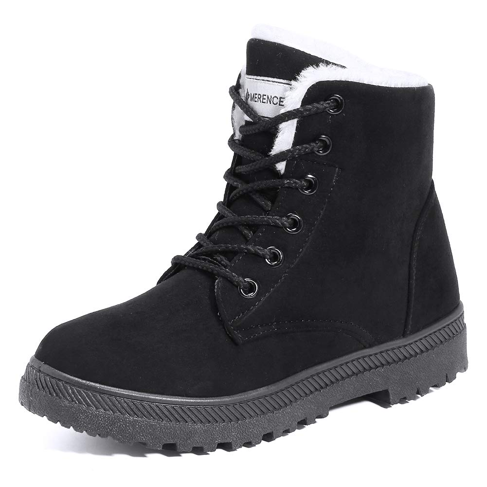 Women's Snow Boots Winter Suede Cotton Warm Fur Lined Ankle Boots Outdoor Anti-Slip Waterproof Booties Lace Up Platform Shoes Black