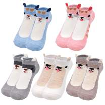 5 Pairs Womens Cute Socks Animal Ankle Socks Novelty No Show Low Cut Socks