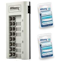 Ultimaxx Charger with Batteries – 8 Port Battery Charger and 2X AA Batteries 3150mAh (4Pcs) Memory Free- Rechargeable, Ni-MH, Durable & Long-Lasting Batteries