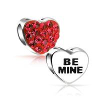Red Silver Be Mine Love Valentine Heart Crystal Spacer Bead Core Sterling Silver Fits European Charm Bracelet For Women
