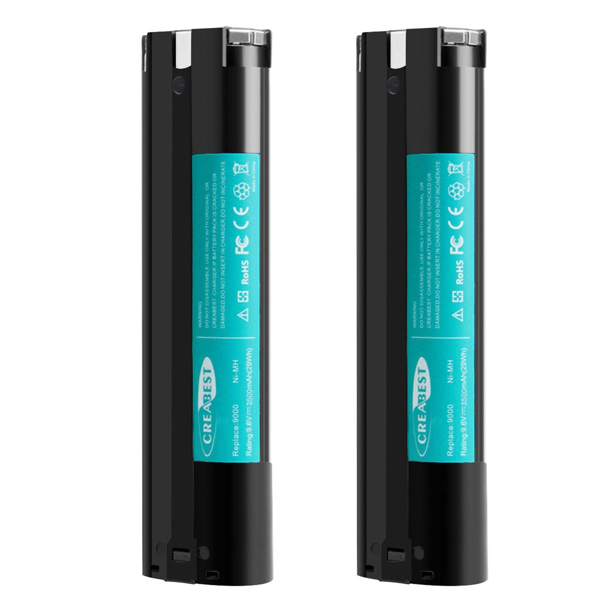 2Packs Creabest New 9.6V 3500mAh Compatible with Makita Replacement Battery 9000 9001 9002 9033 9600 96003 193890-9 192696-2 632007-4 6096D 6093D DA391D 6095D 5090D 4390D Ni-MH Battery Pack