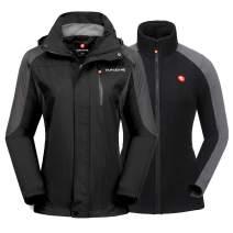 qualidyne Women's Ski Jacket 3 in 1 Windproof Waterproof Winter Jacket, Detachable Hooded Windbreaker with Inner Warm Fleece Coat for Hiking Snowboard