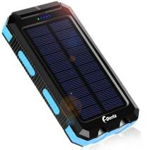 Solar Charger, F.Dorla 10000mAh Portable Solar Power Bank, Dual 5V USB Ports Output, Waterproof, Camping External Backup Battery Pack, 2 Led Light Flashlight with Compass (Blue)
