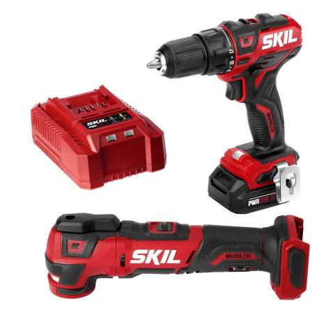 SKIL 2-Tool Kit: PWRCore 12 Brushless 12V 1/2 Inch Cordless Drill Driver and Oscillating MultiTool, Includes 2.0Ah Lithium Battery and Standard Charger - CB738601