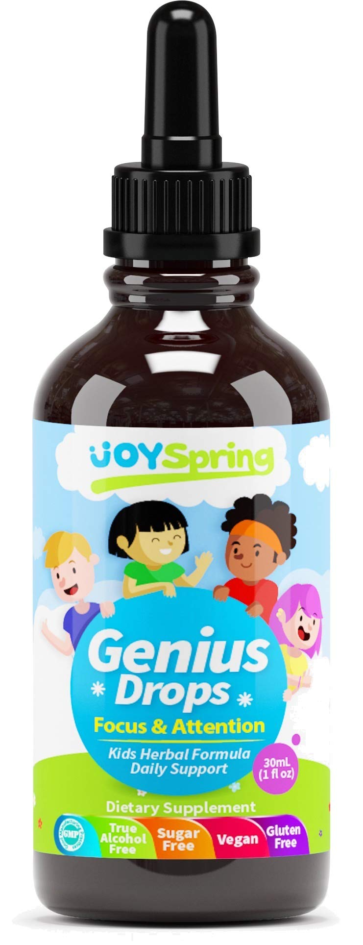 Best Organic Focus Supplement for Kids, Supports Healthy Brain Function to Improve Concentration & Attention for School, Natural Calming Supplement, Great Tasting Liquid Vitamins (4 oz)
