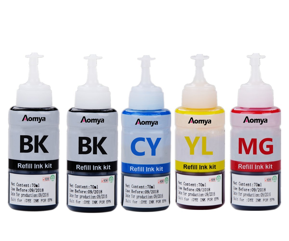Aomya Refill Ink Bottle Kit Replacement for T6641 T6642 T6643 T6644 Inkjet Printer Cartridge Compatible with Expression Ecotank ET-2550 ET-4500 ET-4550 L100 L100 L120 L200 L210 L300 L350(2BK,C, M, Y)