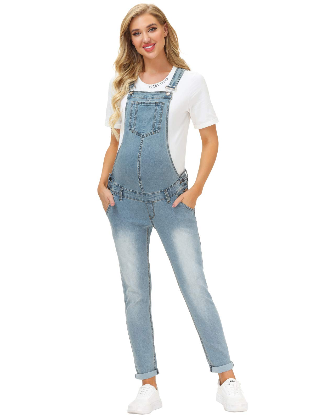 Maacie Maternity Denim Bib Overalls Jumpsuits with Pockets for Women