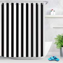 LB Black and White Shower Curtain,Striped Bathroom Curtain,60x72 inch Waterproof Polyester Fabric,Fashion Bath Decor,Ring Hooks Included