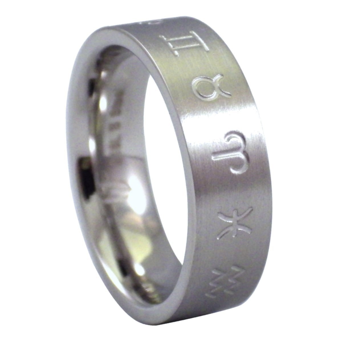 Fantasy Forge Jewelry Mens Zodiac Ring Stainless Steel Band Comfort Fit 6mm Size 13