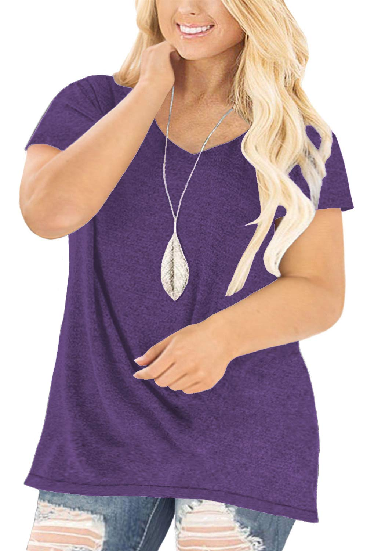 DOLNINE Womens Plus-Size Tops Short Sleeve V Neck Casual Basic T-Shirts Tunics