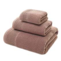 "TeenFighter 100% Pure Long-Staple Cotton Towels Bathroom Sets,1 Bath Towel(27""55"") & 1 Washcloth(13""30"") & 1 Hand Towel(13""14"") (Brown, 3 Pcs Towel Set)"