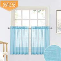 RYB HOME Half Window Sheer Linen Curtain for Nursery, Casual Wave Pattern Privacy Sheer Drapes for Bedroom Light Filtering Sheer, Baby Blue, Width 52 in x Length 36 in Each Panel, 2 Pcs