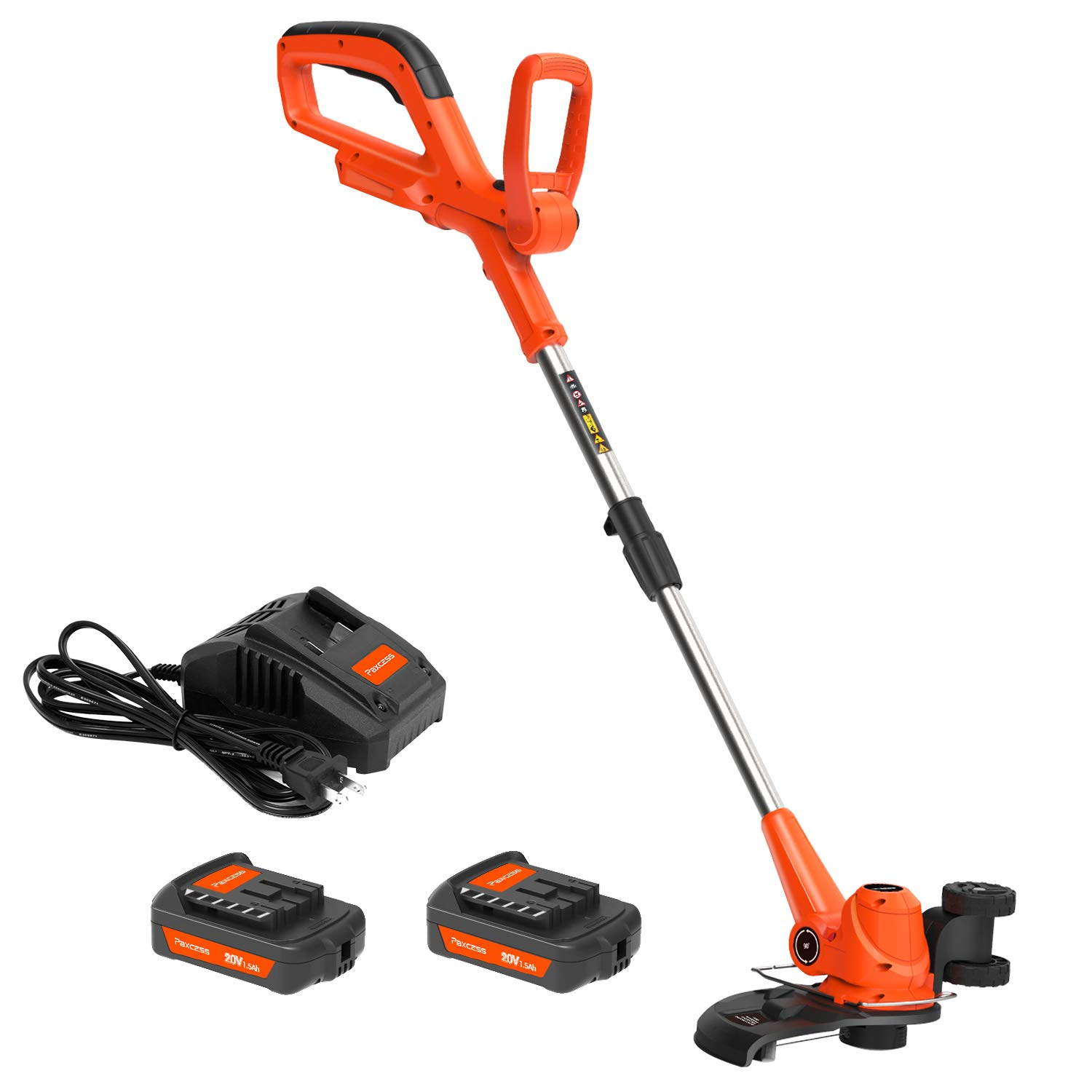 PAXCESS Cordless String Trimmer/Edger, Detachable Weed Eater with 2pcs 20V Lithium-ion Batteries,1pcs Quick Charger, Weed Whacker with Auto Feed Spool, Lightweight&Powerful , No Hassle