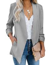 Womens Blazer Casual Ruched 3/4 Cuffed Sleeve Office Work Cardigan Jackets with Pockets
