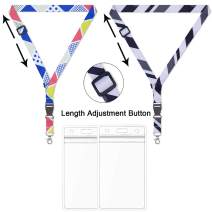 AMUU 2 Pack Lanyard with id Badges Adjustable Lanyards Extensible Length Quick Release Cute Extend Shorten Lanyard for Kids Women Girl