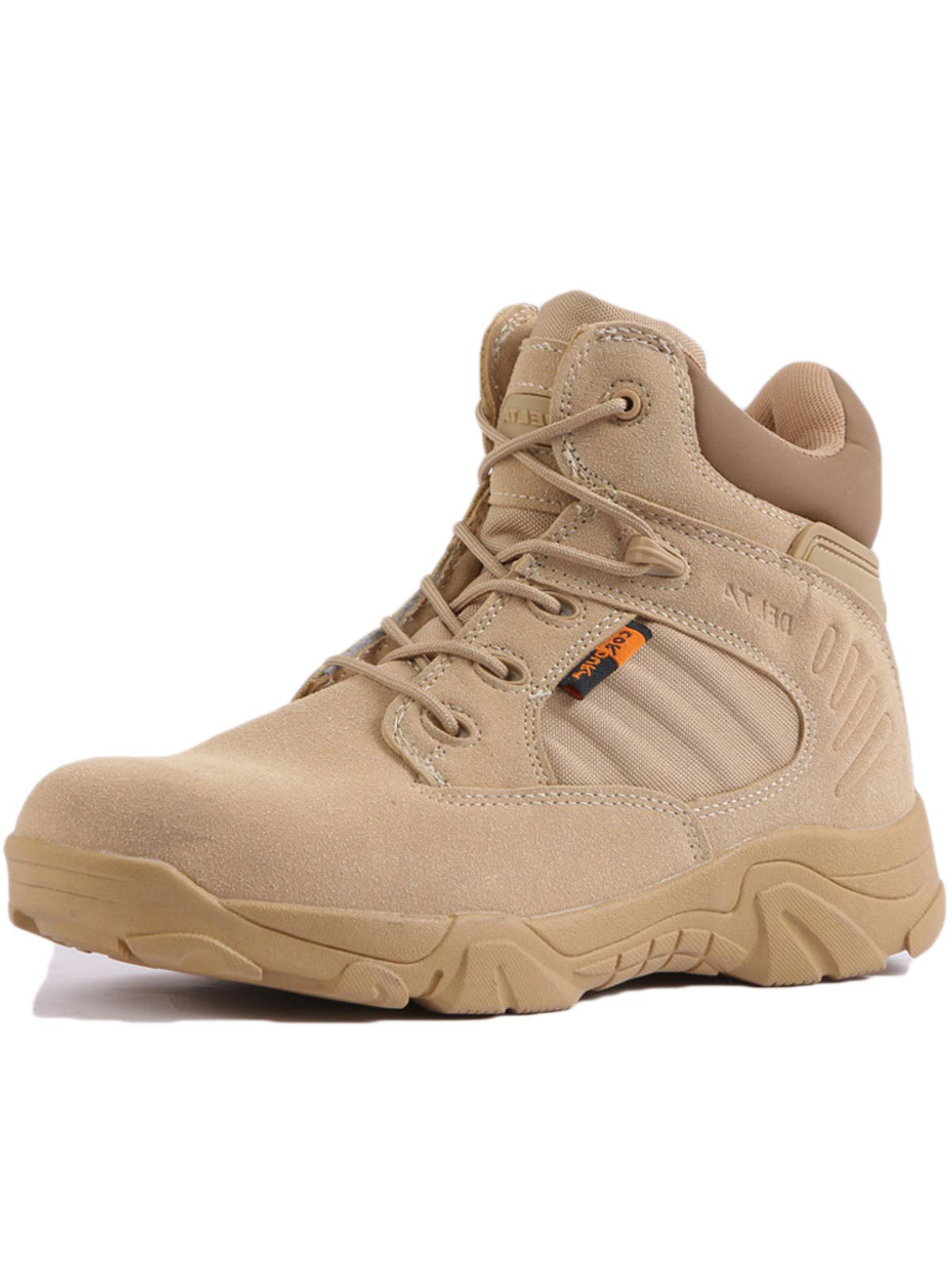 HARGLESMAN Men's Tactical Boots 6 Inches Combat Military Work Desert Leather Boots with Zipper