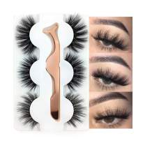 3 Styles False Eyelashes Synthetic Fiber Material 3D Mink Lashes 100% Handmade Natural Fluffy Long Soft Reusable Fake Eyelashes with Eyelash Applicator (3 Pairs)