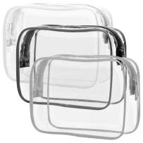 Clear Makeup Bag with Zipper, Packism 3 Pack Beauty Clear Cosmetic Bag TSA Approved Toiletry Bag, Travel Clear Toiletry Bag, Quart Size Bag Carry on Airport Airline Compliant Bag, Black White Grey