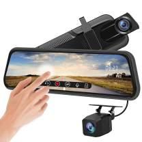 Backup Camera 10 inch Mirror Dash Cam Dual Lens Front Rear Dash Camera 1080P Full Touch Screen Video Streaming Rear View Mirror Loop Recording, Parking Monitor, Night Vision, Waterproof Rear Camera