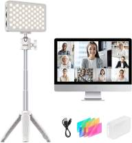 Webcam Video Conference Lighting for Laptop, LED Video Light w Extendable Tripod Table Lamp Compatible with MacBook iPad Tablet Desktop Computer for Remote Working Home Study YouTube Live Streaming