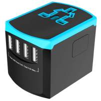 ABTOR Universal Travel Adapter, International Power Plug with 4 USB Ports 2.4A Worldwide AC OutletWall Charger for Europe, UK, US, AU, Asia