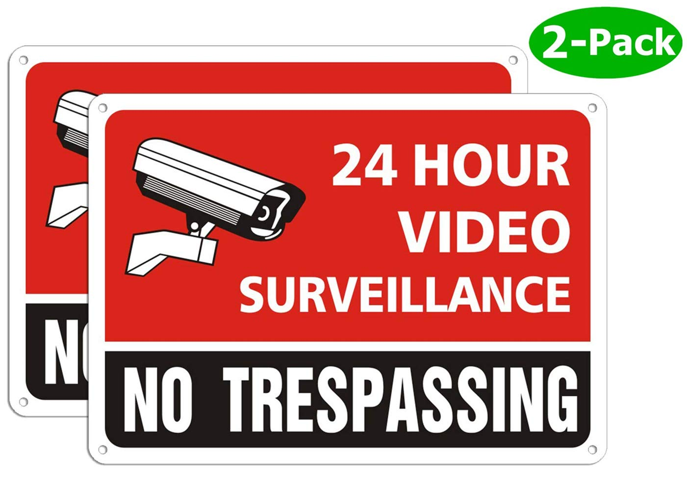 Security Camera Warning Signs 24 Hour for Property Video Surveillance Sign