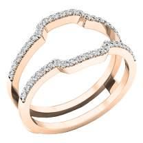 Dazzlingrock Collection Diamond Wedding Band Enhancer Guard Ring from 1/4 Carat to 1 Carat White Diamond Ring in 14K Rose Gold
