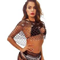 Nicute Festival Body Chain Rhinestone Black Woven Top Chains Summer Crystal Smock Body Jewelry for Women and Girls