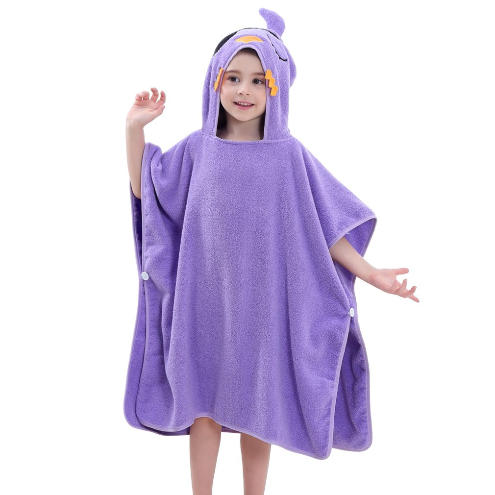 "MICHLEY Hooded Baby Unisex Beach Bath Poncho Towel, Soft Cotton Animal Kids Bathrobe for 2-6 Years, 27.5""X 27.5""(Bird)"