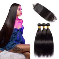 VIPbeauty Brazilian Straight Human Hair Bundles with Closure 4x4 Free Part Lace Closure with Baby Hair Unprocessed Virgin Hair Weft for Black Women (12 14 16+10, Nature Color)