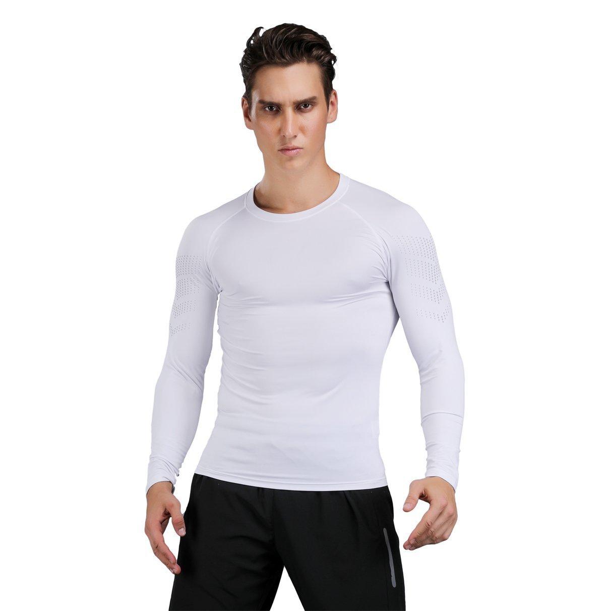 LIERDAR Men's Long Sleeve Running Workout Compression Baselayer Shirt White Gym Sport Shirt White 2X-Large