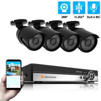 Jennov 4 Channel PoE(Power Over Ethernet) Security Camera System 3 Megapixels True HD Bullet IP Camera Home Surveillance Outdoor Indoor IP66 Waterproof with Audio Recording Night Vision Motion Alert