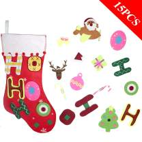 O-heart Ho Ho Ho Christmas Stocking, DIY Felt Stocking + 15pcs Detachable Ornaments, Extra Large Red Christmas Fireplace Hanging Stockings for Kids Xmas Gift Christmas Holiday Decorations, 17.7 x 10